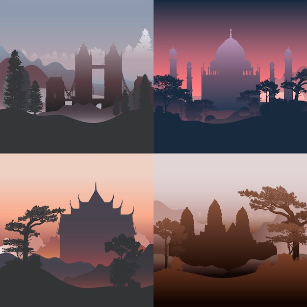 Collection of architectural landmarks vector Free Vector