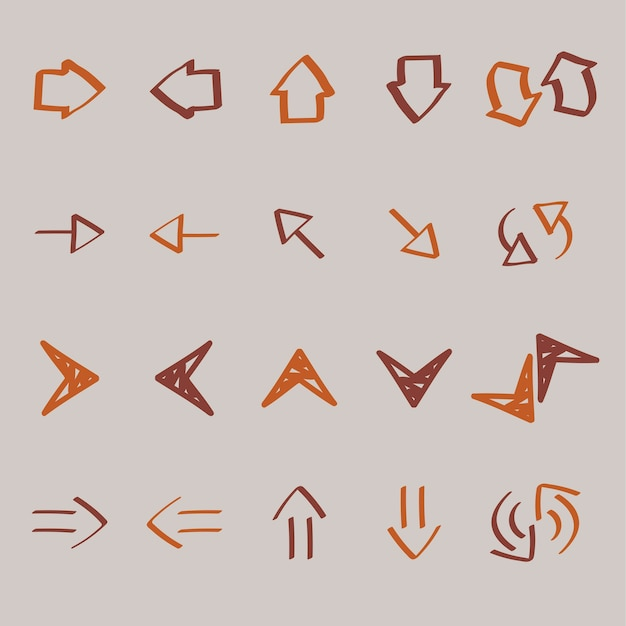 Collection of arrow doodles illustration Free Vector