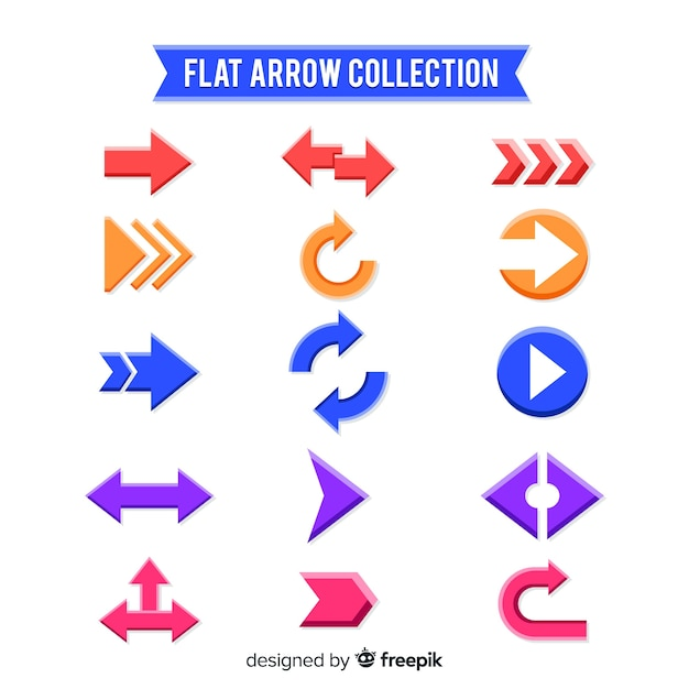 Collection of arrows in different colors Free Vector