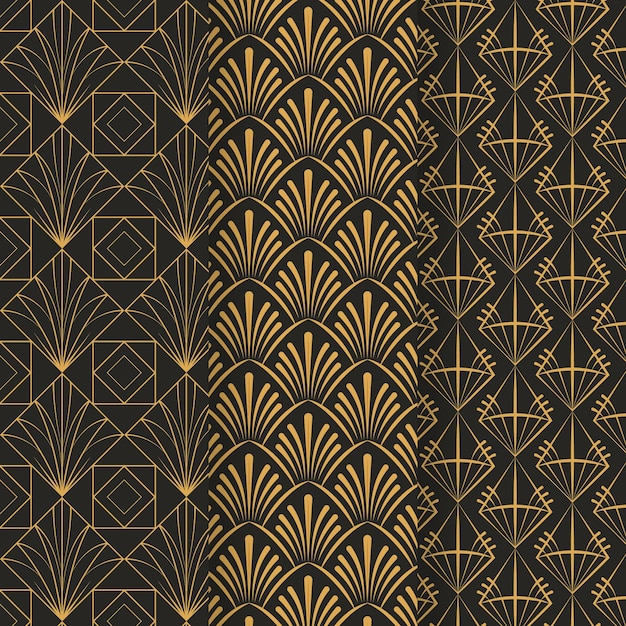Collection of art deco pattern template Premium Vector