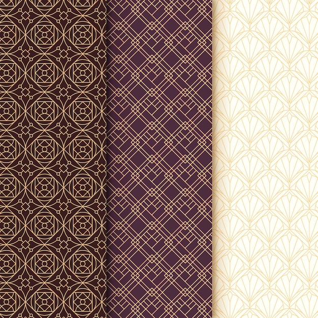 Collection of art deco seamless pattern Free Vector