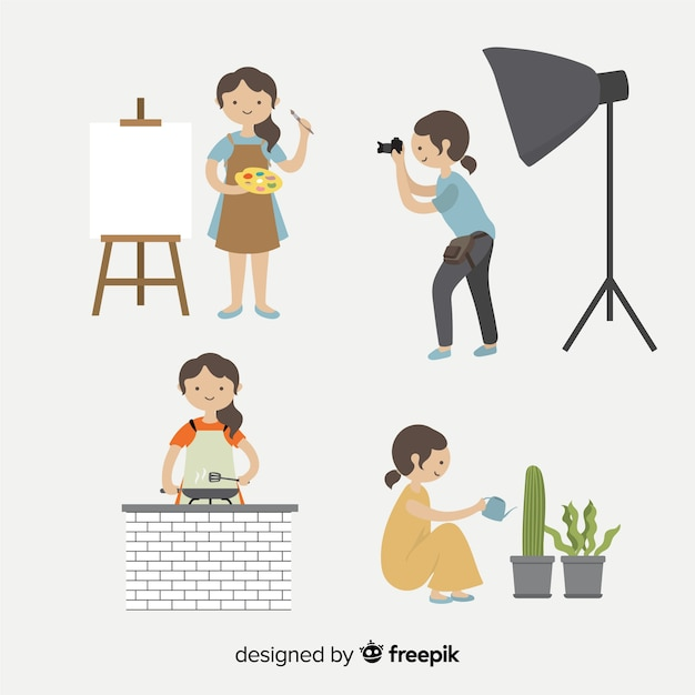 Collection of artists doing their work Free Vector