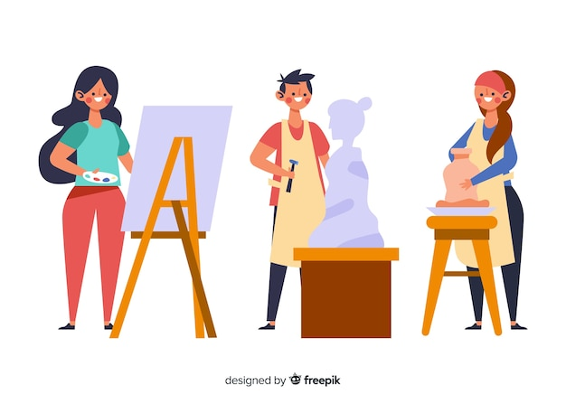 Collection of artists at work with pottery Free Vector