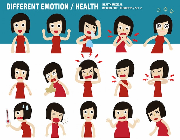 Collection asian woman. sick with different diseases.medical concept infographic vector illustration Premium Vector