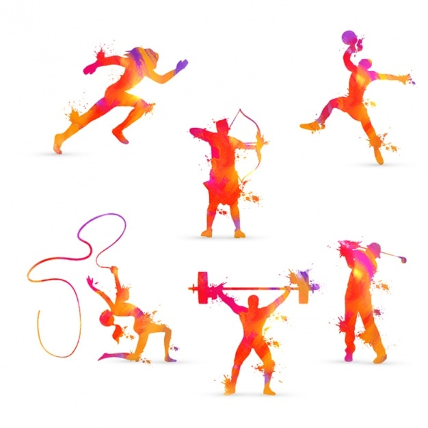 Collection of athletes in orange tones Premium Vector