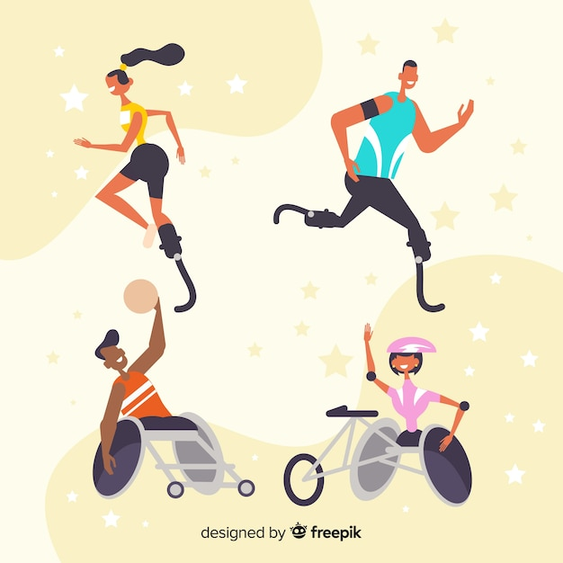 Collection of athletes with disabilities Free Vector