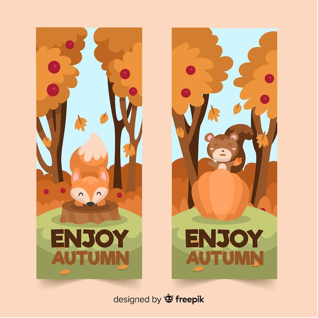 Collection of autumn banner flat style Free Vector
