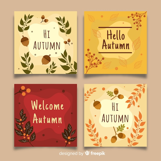 Collection of autumn cards flat design Free Vector