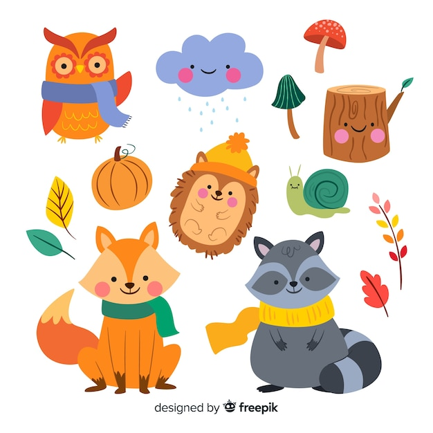 Collection of autumn forest animals flat design Free Vector