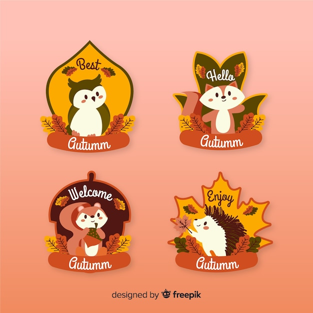 Collection of autumn labels flat design Free Vector