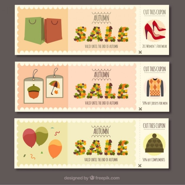 Collection of autumn sale banners Premium Vector