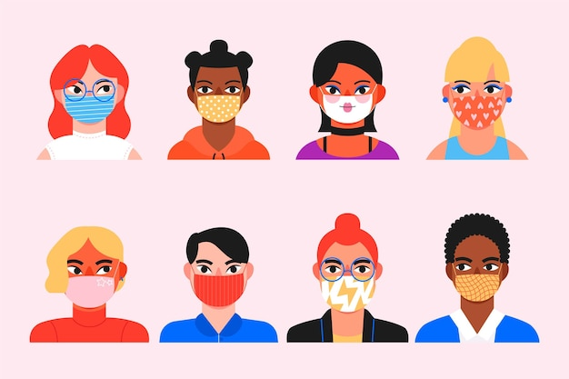 Collection of avatars of people wearing medical masks Free Vector