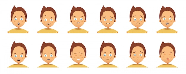 Collection of avatars with child emotions Premium Vector
