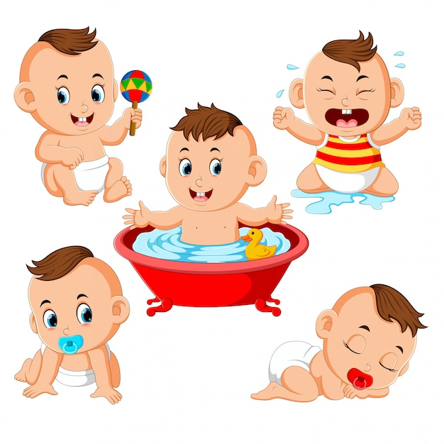 The collection of the baby boy doing the activities Premium Vector