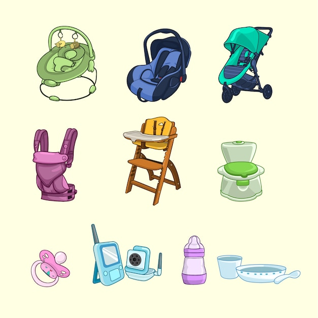 Collection of baby products Premium Vector