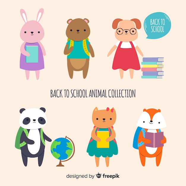 Collection of back to school animals Free Vector