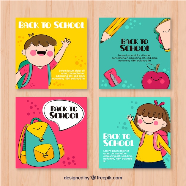 Collection of back to school cards Free Vector