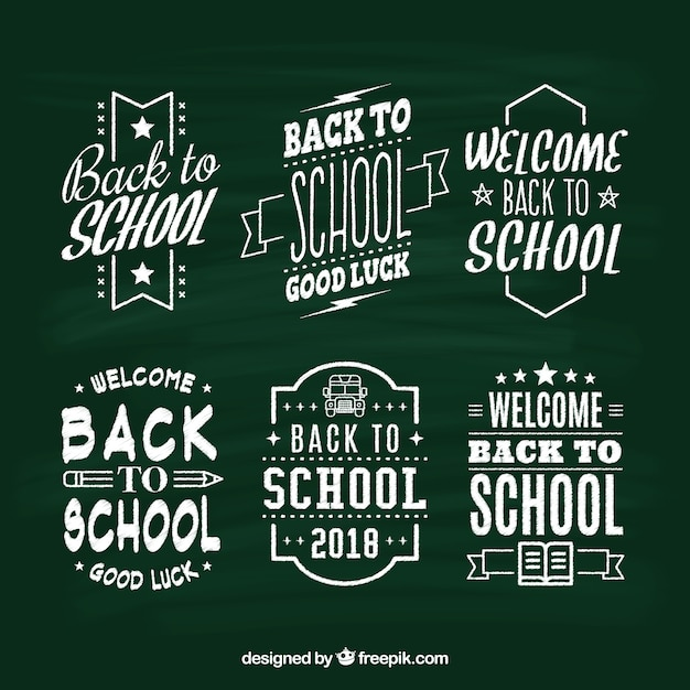 Collection of back to school labels in chalk style Premium Vector