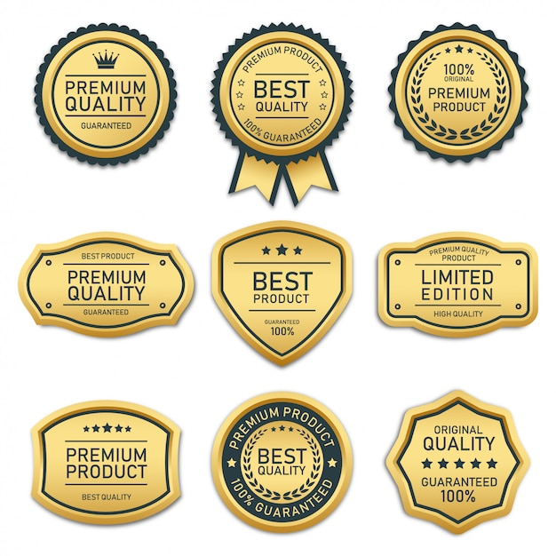 Collection of badges and labels best quality product Premium Vector