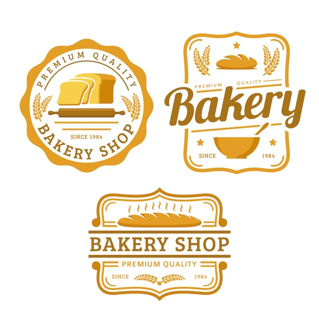 A collection of bakery logo template, bakery shop set, vintage retro style logo pack Premium Vector