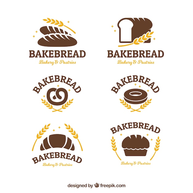 Collection of bakery logos in flat style Free Vector