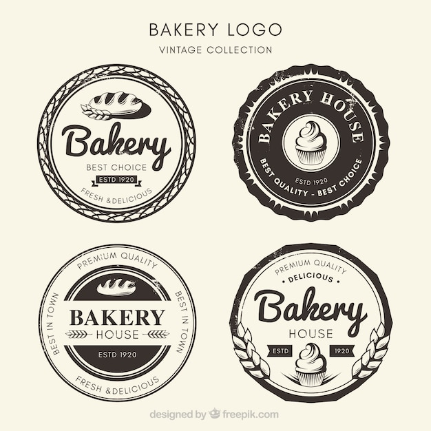 Collection of bakery logos in vintage style Free Vector