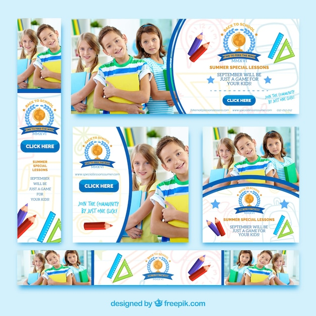 Collection of banners back to school Free Vector