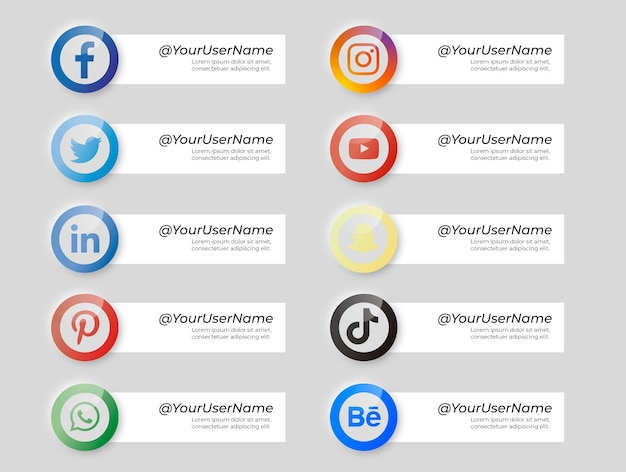 Collection of banners with social media icons neumorphic style Free Vector