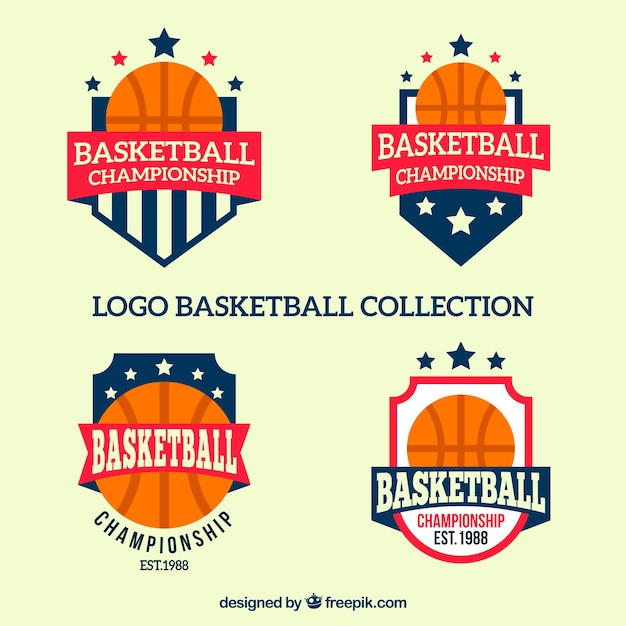 Collection of basketball logos in flat design Free Vector