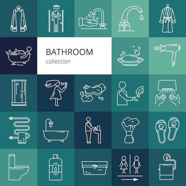 Collection of bathroom icons. isolated vector illustration of a white color Premium Vector