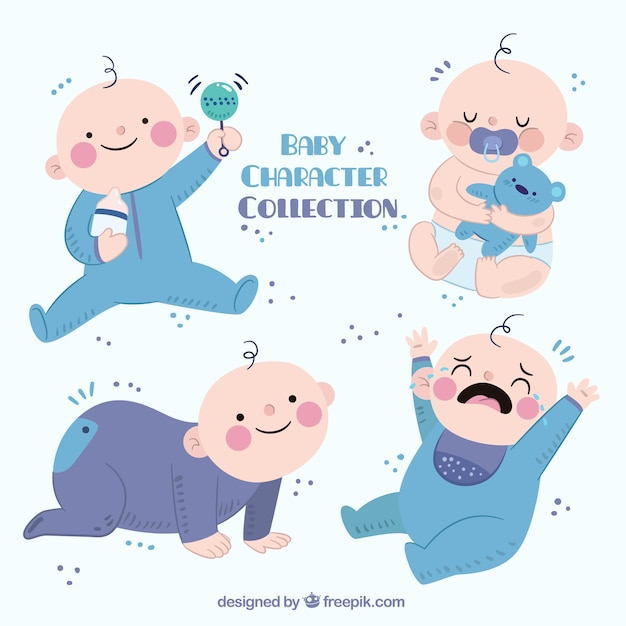 Collection of beautiful baby Free Vector