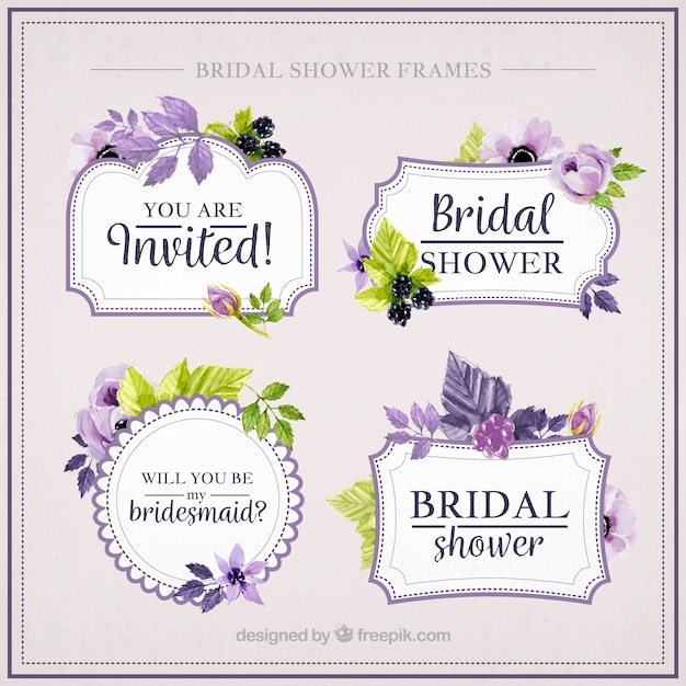 Collection of beautiful bridal shower frames with purple flowers Free Vector