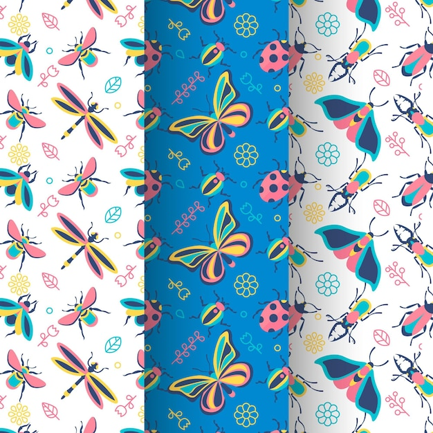 Collection of beautiful bug pattern Free Vector