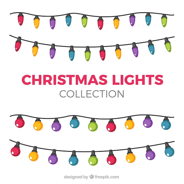 Collection of beautiful light bulbs of christmas colors Free Vector