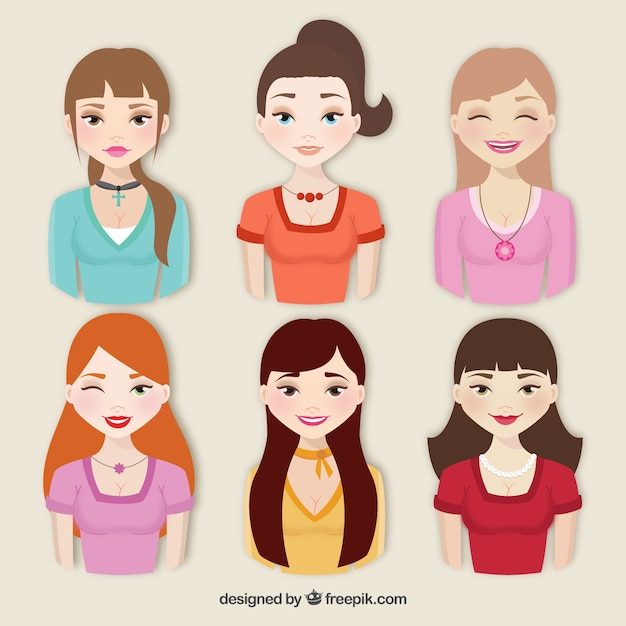 Collection of beautiful women Free Vector
