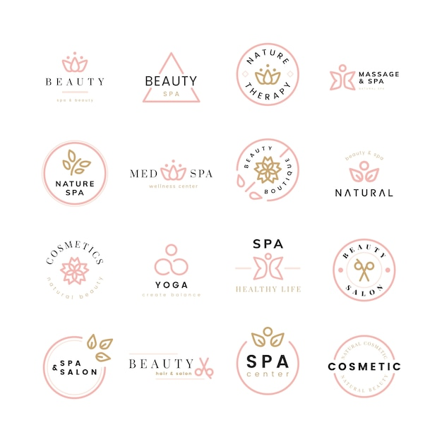 Collection of beauty and spa logos Free Vector