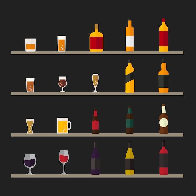 Collection of beverage vectors Free Vector