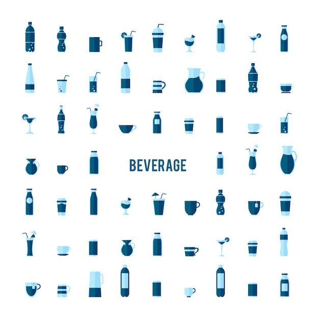 Collection of beverage vectors Free Vector