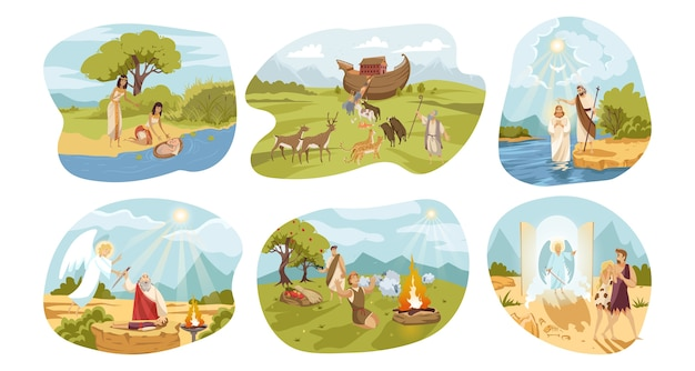 Collection of biblical religious old testament series of Premium Vector