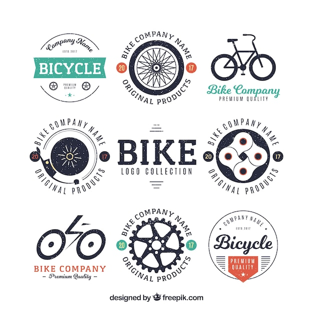 Collection of bicycle badge Free Vector