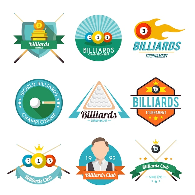 Collection of billiard badges Free Vector