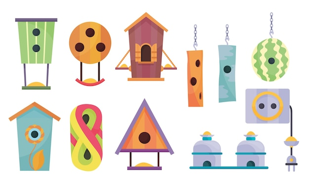 Collection of bird houses Premium Vector