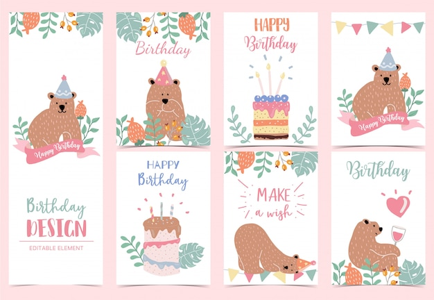 Collection of birthday background set with bear Premium Vector