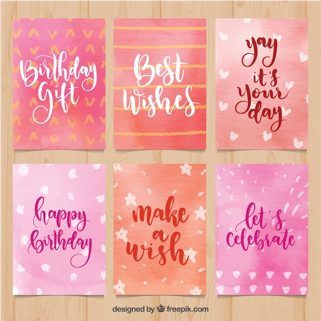 Collection of birthday cards in pink watercolour Free Vector