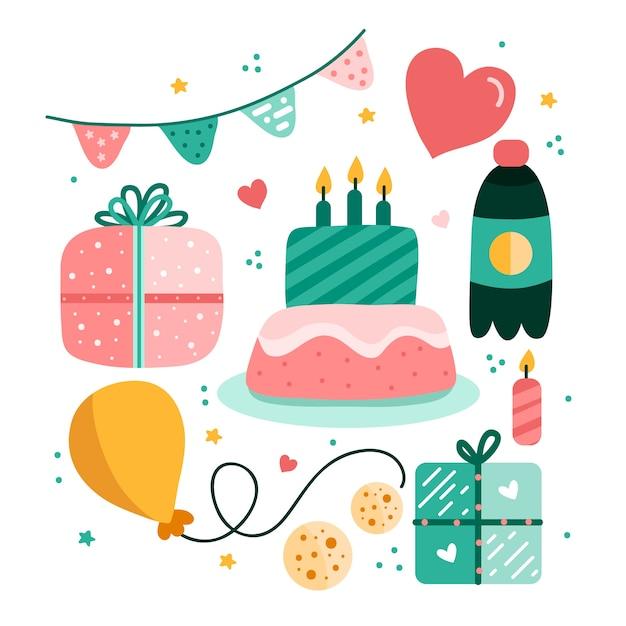 Raccolta di elementi di decorazione di compleanno Vettore gratuito