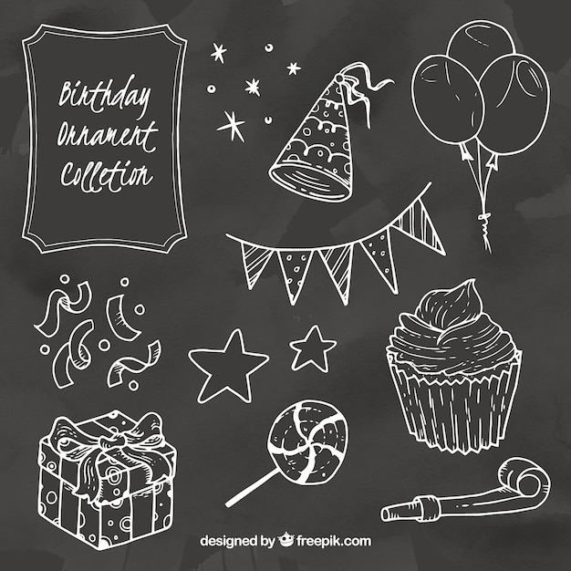 Collection of birthday elements in chalk style Free Vector