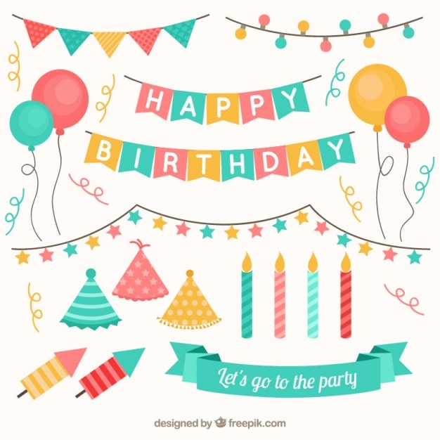 Collection of birthday ornamental element Free Vector