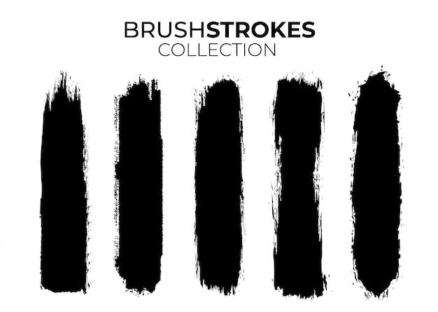 Collection of black brushstrokes Free Vector