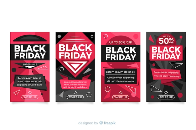 Collection of black friday instagram stories Free Vector