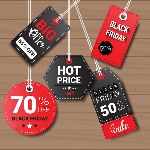 Collection of black friday tags or labels Premium Vector